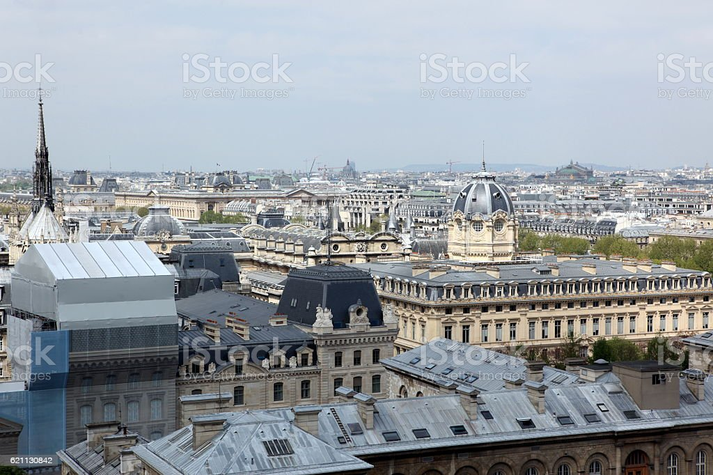 Paris from Notre Dame Cathedral stock photo