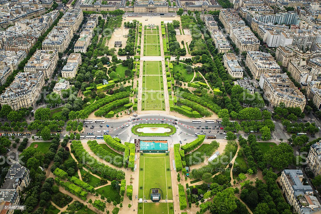 Paris from the Eiffel Tower, aerial view stock photo