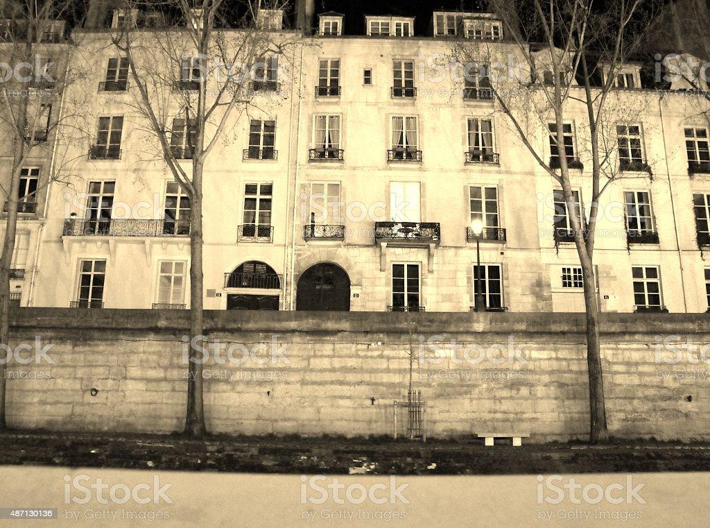 Paris from the Seine - Sepia stock photo