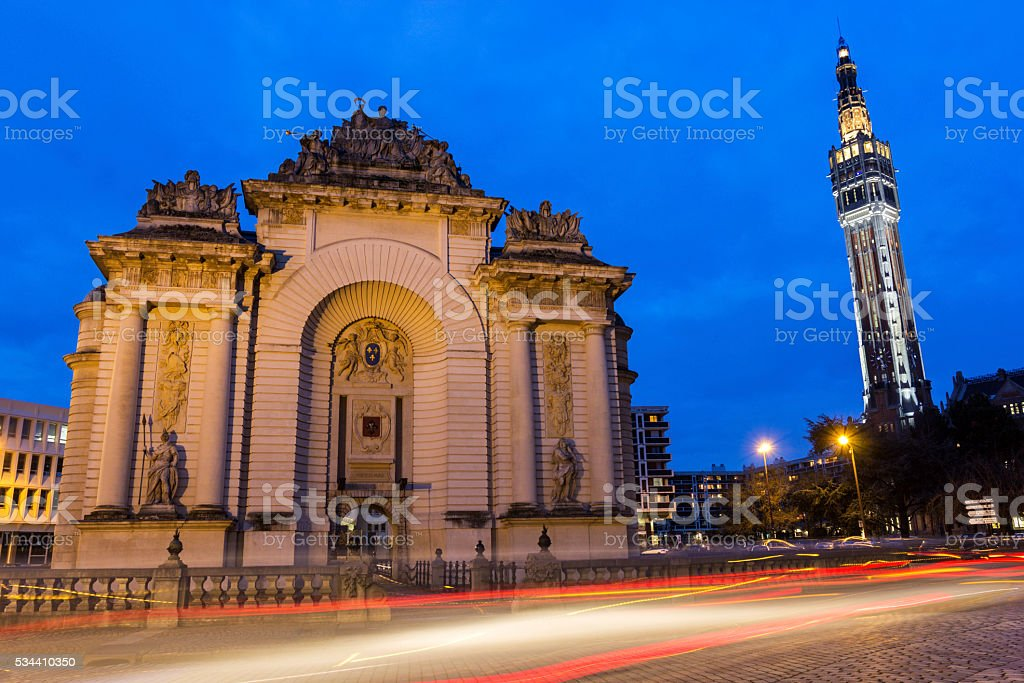 Paris Gate in Lille in France stock photo