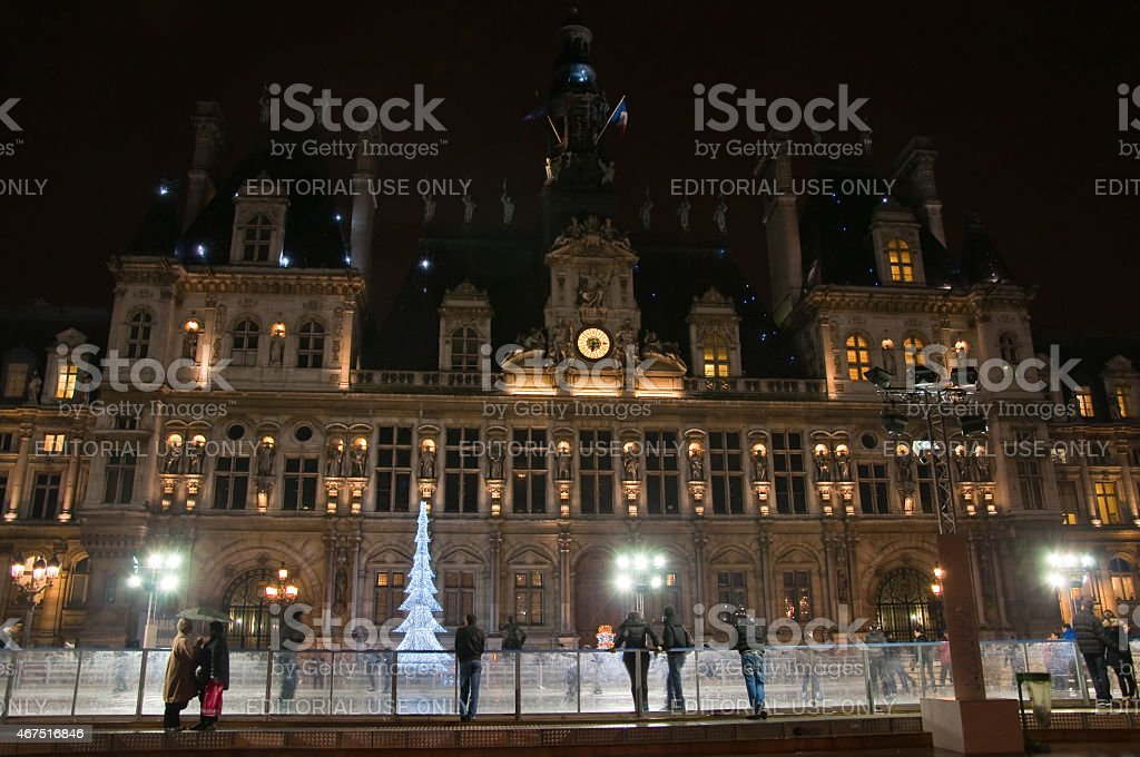 Paris ice skating rink and the Hotel de ville. Paris. stock photo