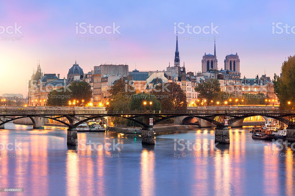 Paris, Ile de la Cite at sunrise stock photo