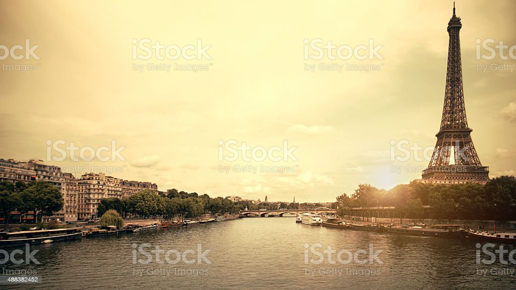 Paris in the evening with yellow filter stock photo