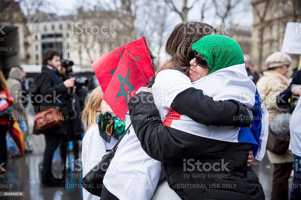 Paris, January 10 2016: commemoration for victims of terrorist attacks stock photo
