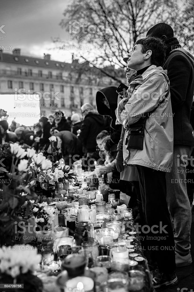 Paris, January 10 2016: commemoration for victims of terrorist attacks stock photo