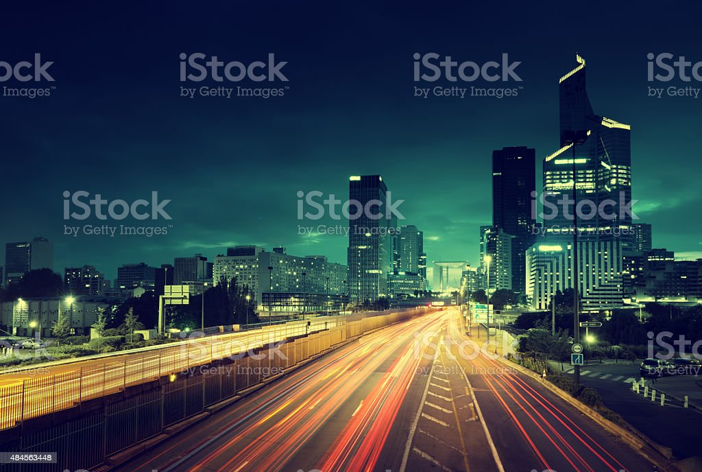 Paris LaDefense in sunset time, France stock photo