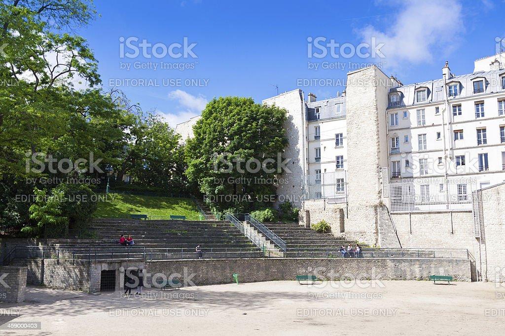 Paris, Latin Quarter. Ancient Roman ruins. stock photo