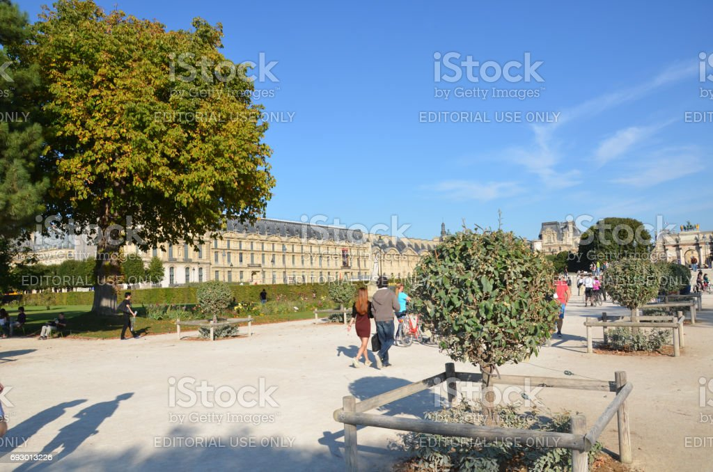 Paris -  Local and Tourist in famous Tuileries garden. stock photo