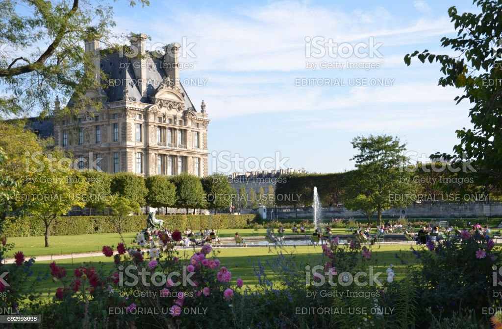 Paris -  Local and Tourist rest in famous Tuileries garden. stock photo