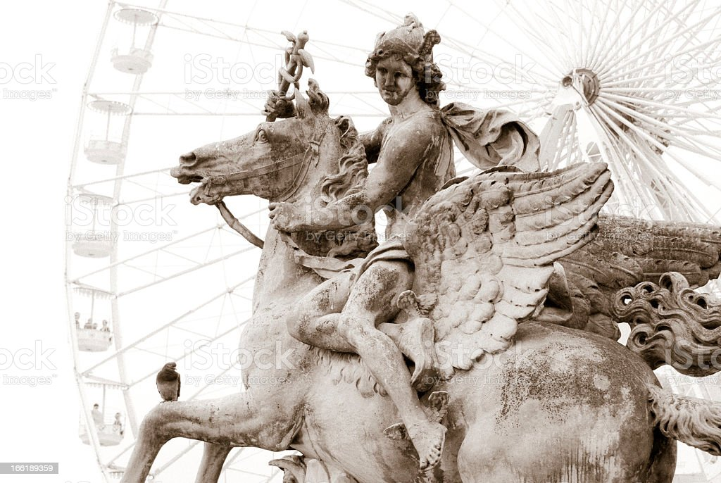 Paris: Mercury on Pegasus stock photo