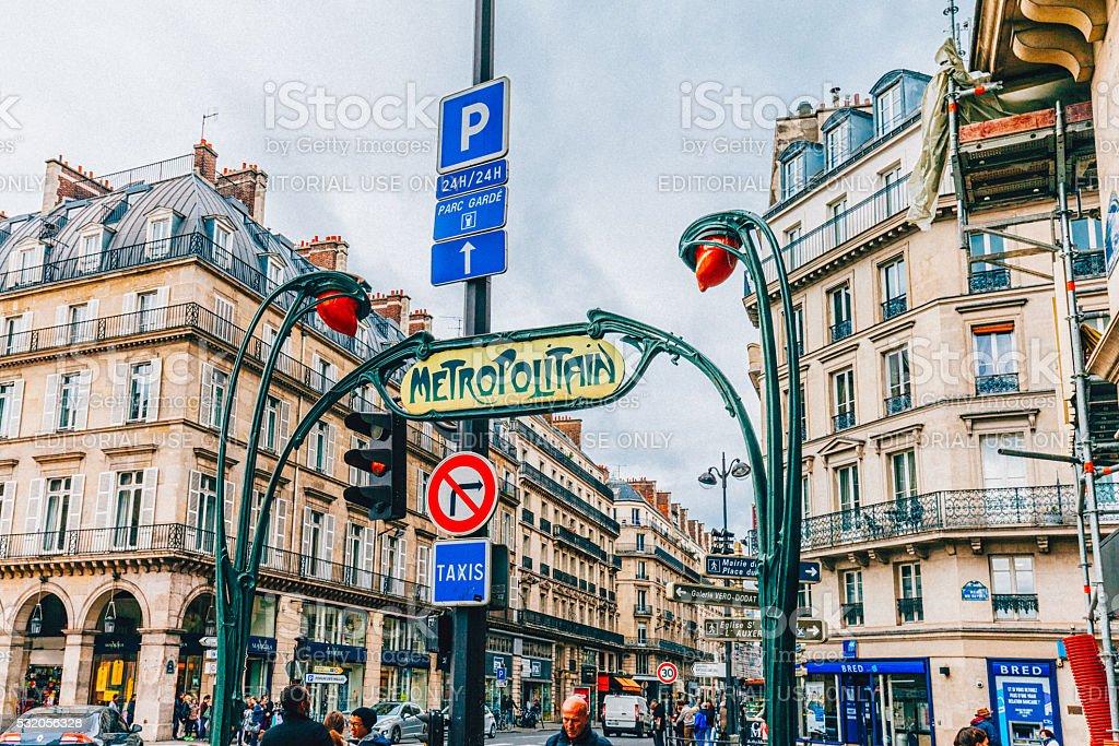 Paris Metro entrance with Metropolitain Sign stock photo