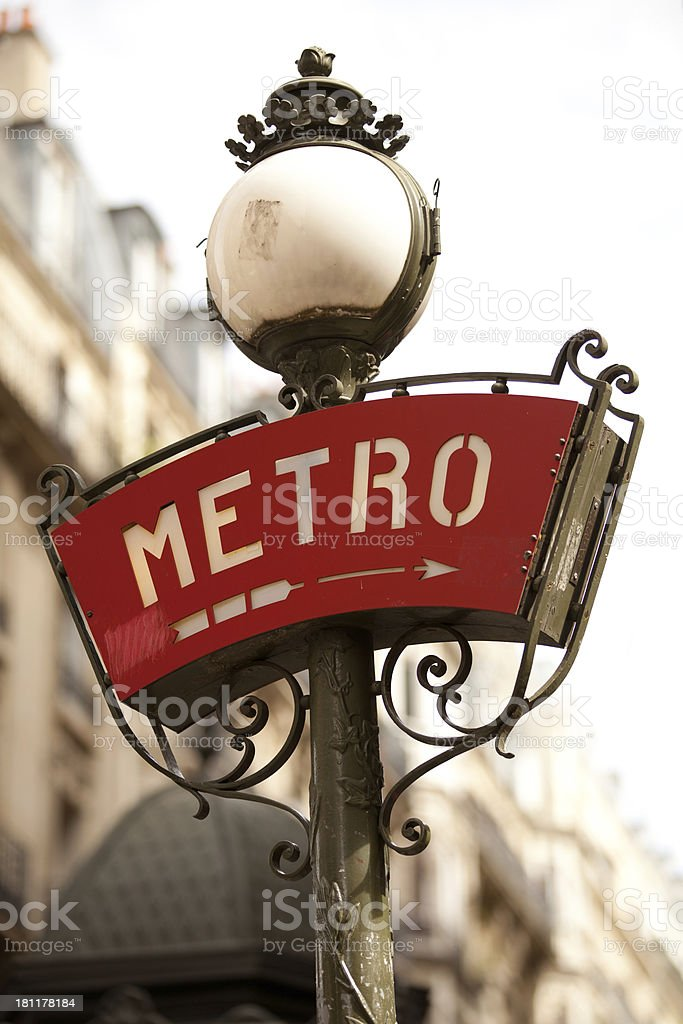 Paris metro sign - isolated stock photo