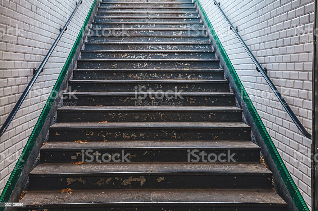 Paris metro stairs stock photo