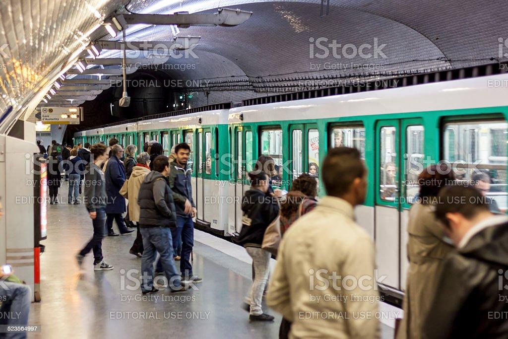 Paris Metro station Mirabeau stock photo