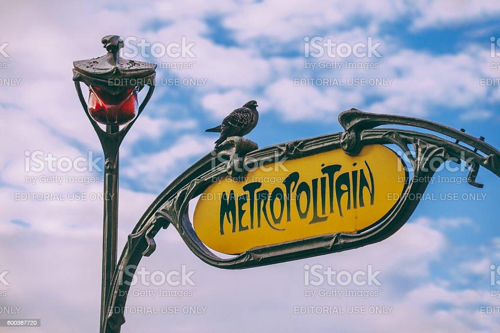 Paris Metropolitain Sign stock photo