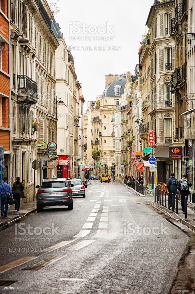 Paris Montmartre Blanche street on a rainy day stock photo