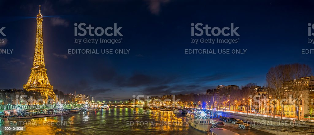 Paris night lights stock photo