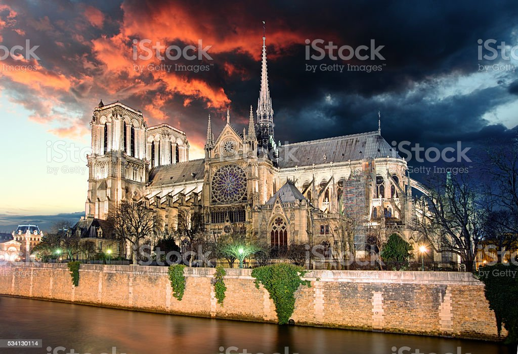 Paris - Notre Dame at sunrise, France stock photo