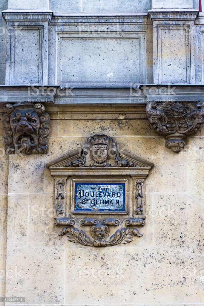 Paris old street sign Boulevard Snt Germain stock photo