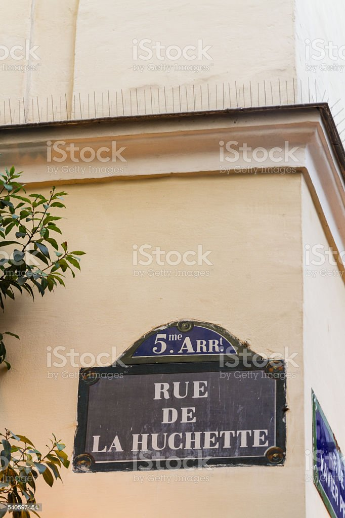 Paris old street sign Rue De La Huchette stock photo