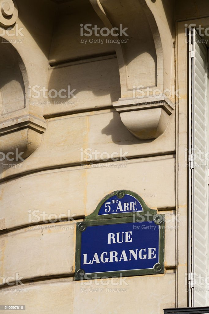 Paris old street sign Rue Lagrange stock photo