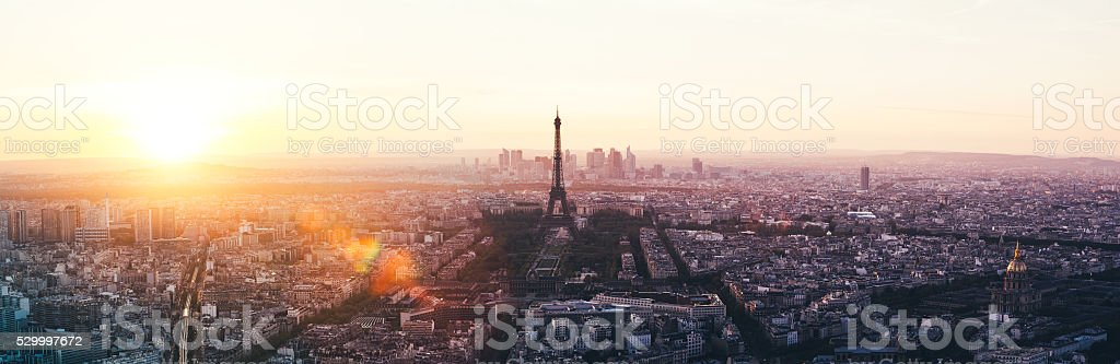 Paris Panorama At Sunset stock photo