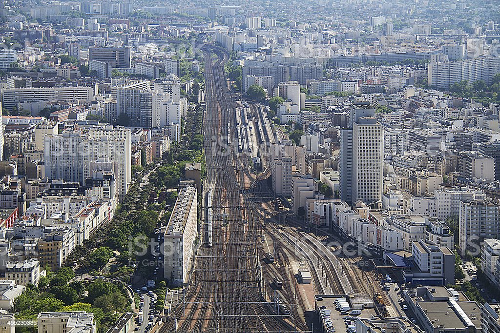 Paris, Panorama, R?seau ferr? stock photo