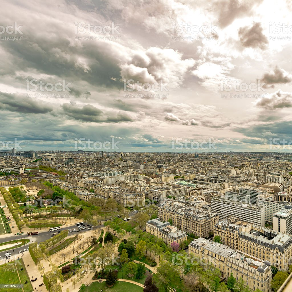 Paris, panoramic aerial view near Champ de Mars stock photo