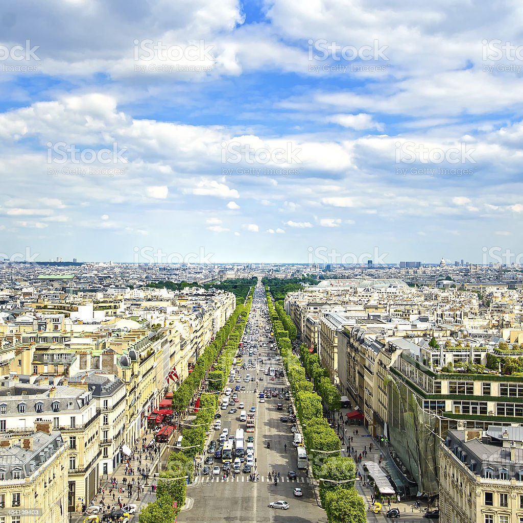 Paris, panoramic aerial view of Champs Elysees. France stock photo