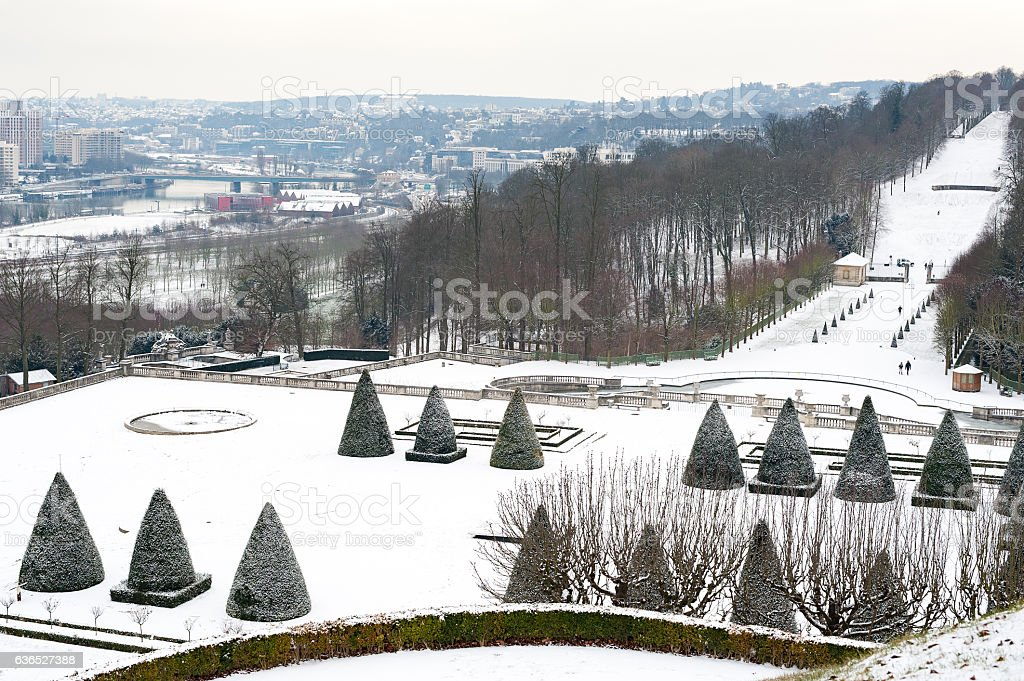 Paris - Parc de Saint-Cloud under the snow stock photo