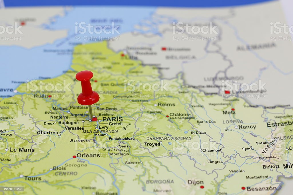 Paris pin in a map stock photo