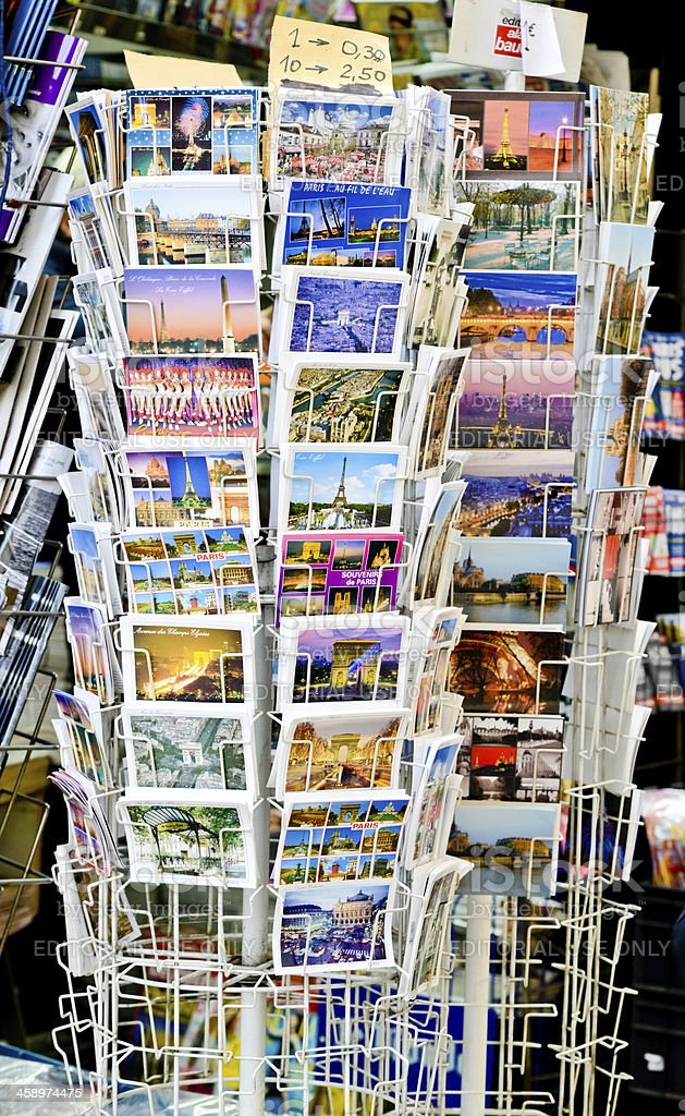 Paris Postcards selling in a street gift shop royalty-free stock photo