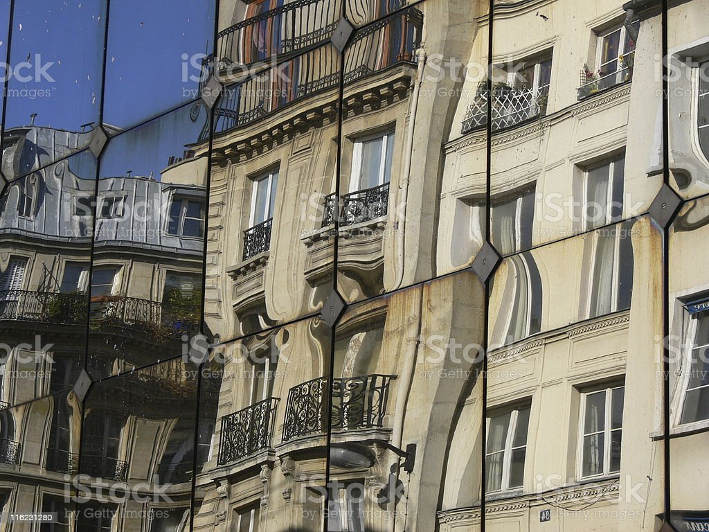 Paris. Reflections from buildings stock photo