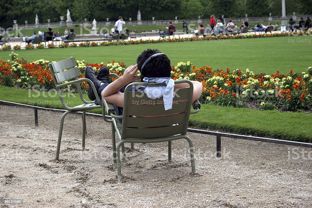 Paris, relax at jardin du luxembourg stock photo