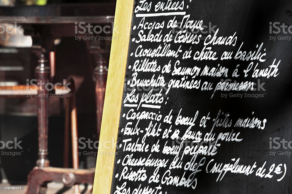Paris restaurant with menu royalty-free stock photo