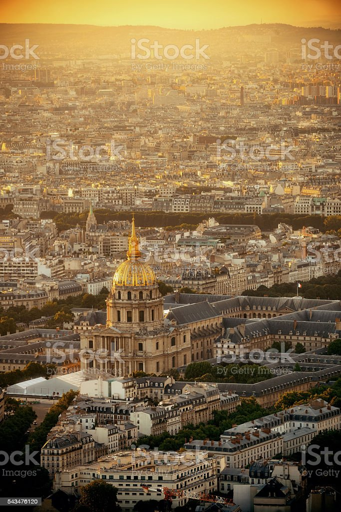 Paris rooftop stock photo