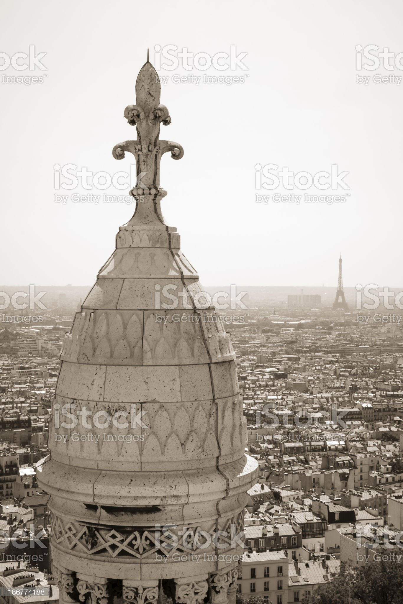 Paris scenic view from Basilica of the Sacred Heart royalty-free stock photo