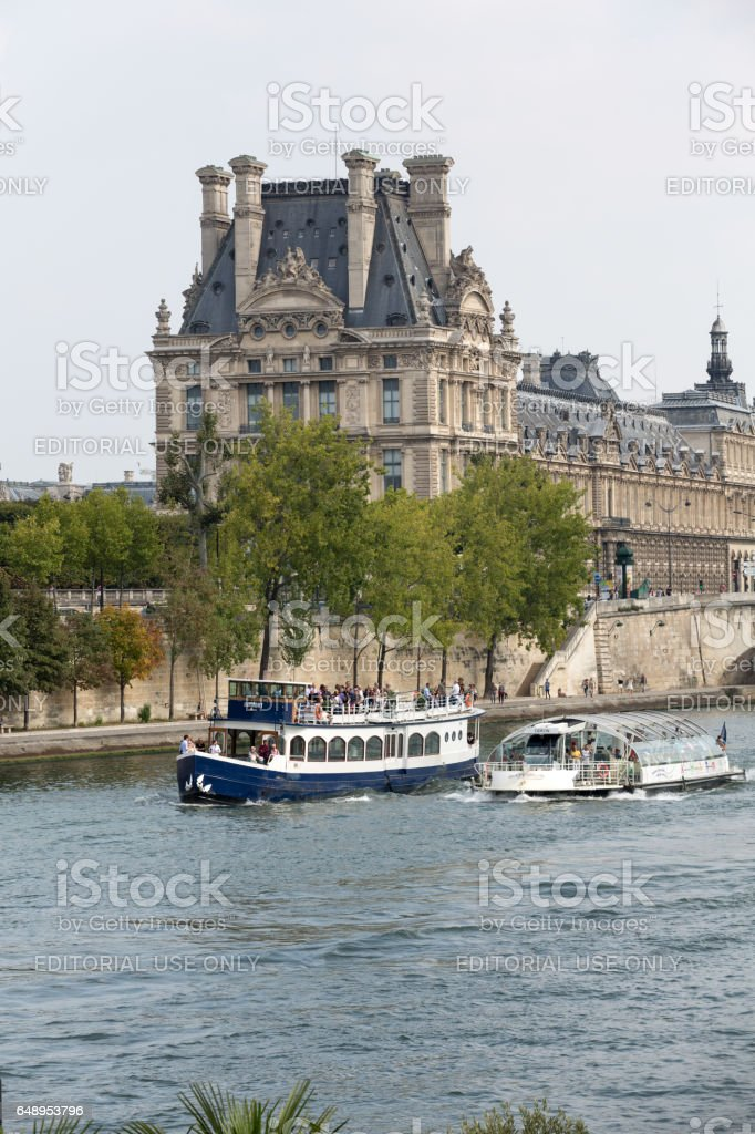 Paris -  Seine between Louvre and the Museum D'Orsay stock photo