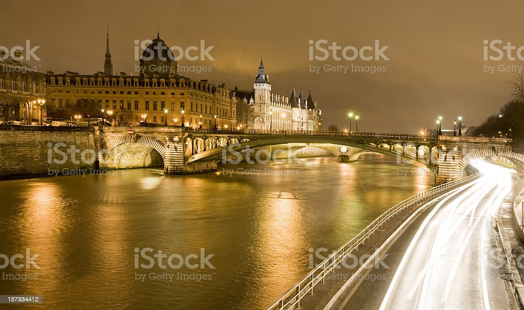Paris Seine Conciergerie stock photo