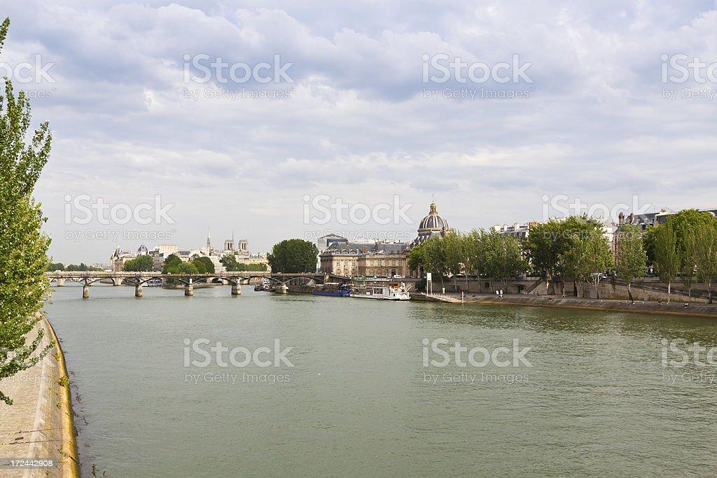 'Paris, Seine river and Pont des Arts.' stock photo