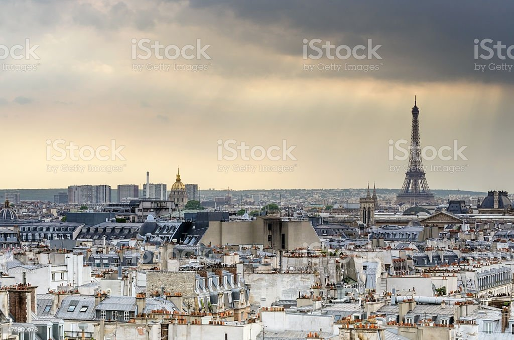 Paris Skyline and Eiffel Tower at sunset stock photo