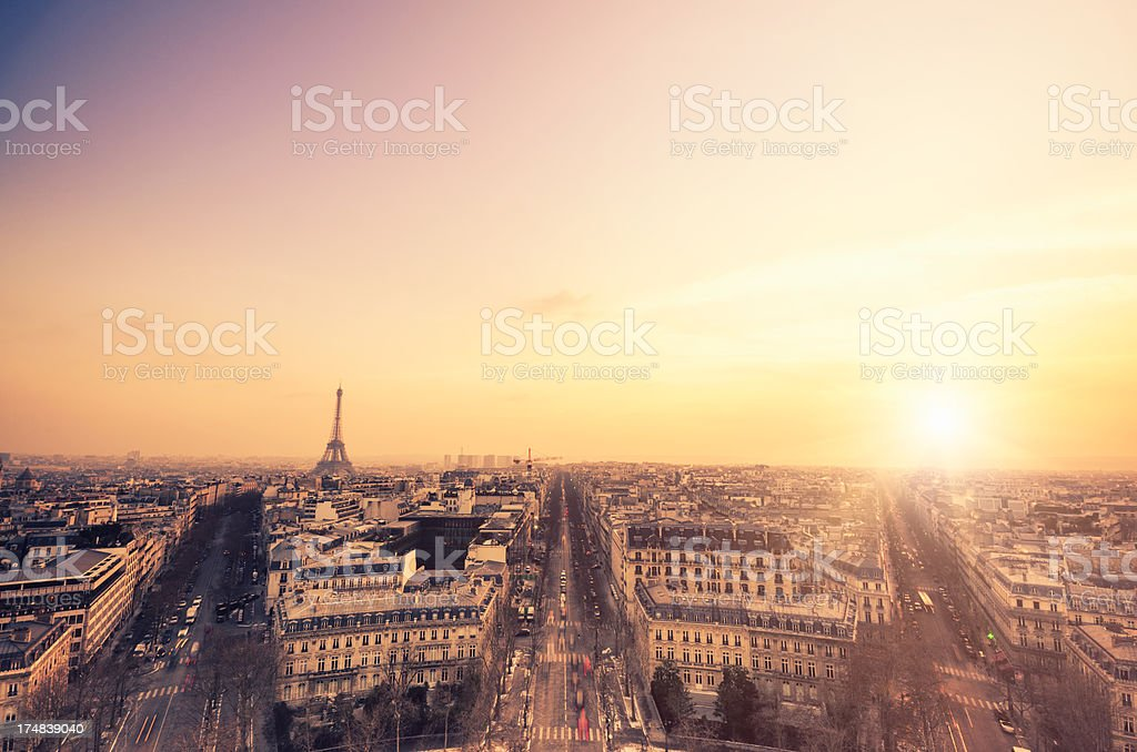 Paris skyline and Tour Eiffel at sunset royalty-free stock photo