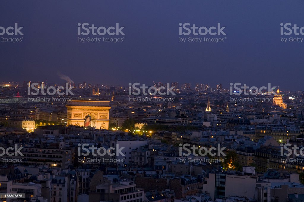 Paris skyline at dusk stock photo
