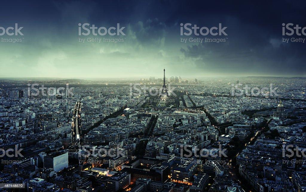 Paris skyline at sunset, France stock photo