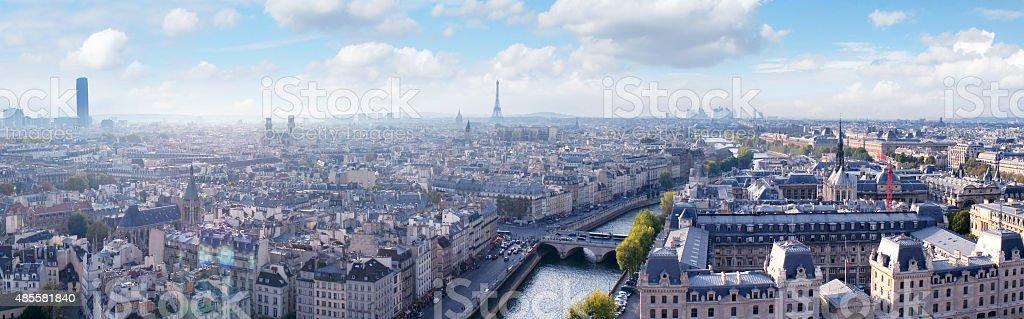 Paris skyline panoramic view from Notre Dame stock photo