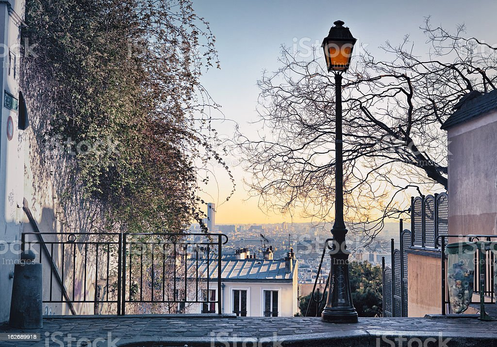 Paris skyline seen from Montmartre stock photo