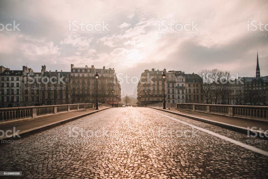 A street in central Paris on a beautiful sunset