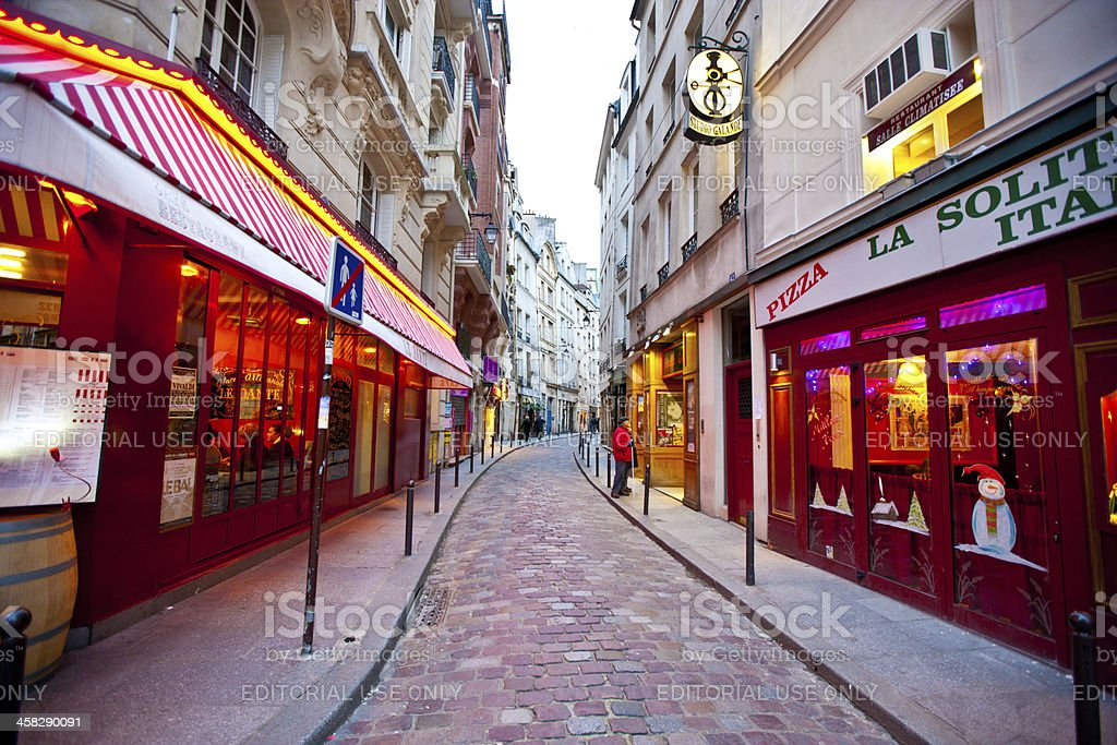 Paris Street, Pizzeria decorated for Christmas Holidays royalty-free stock photo