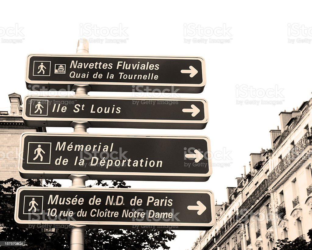 Paris Street Signs in Sepia Tone royalty-free stock photo