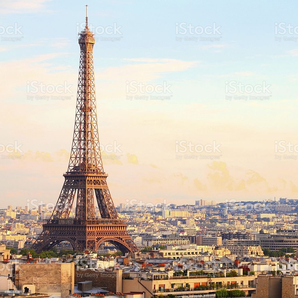 Paris sunset stock photo